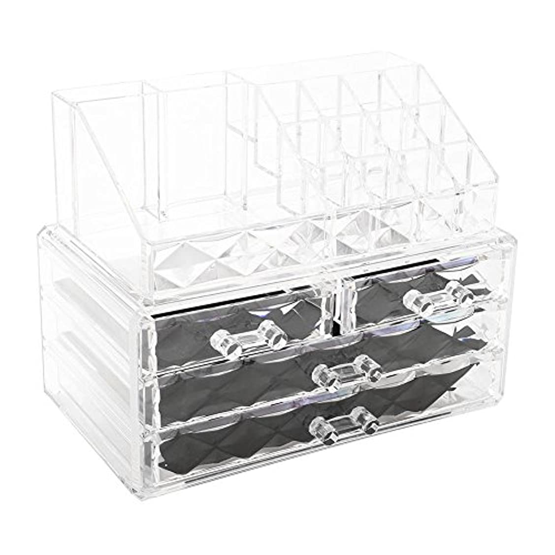 フレット国民不十分化粧品収納ボックス アクリル製 2段式 三つ引き出し 大容量 多機能 丈夫 耐用 防塵 高透明度 化粧道具 小物入れ 化粧品入れ コスメ収納スタンド(2色) (透明)