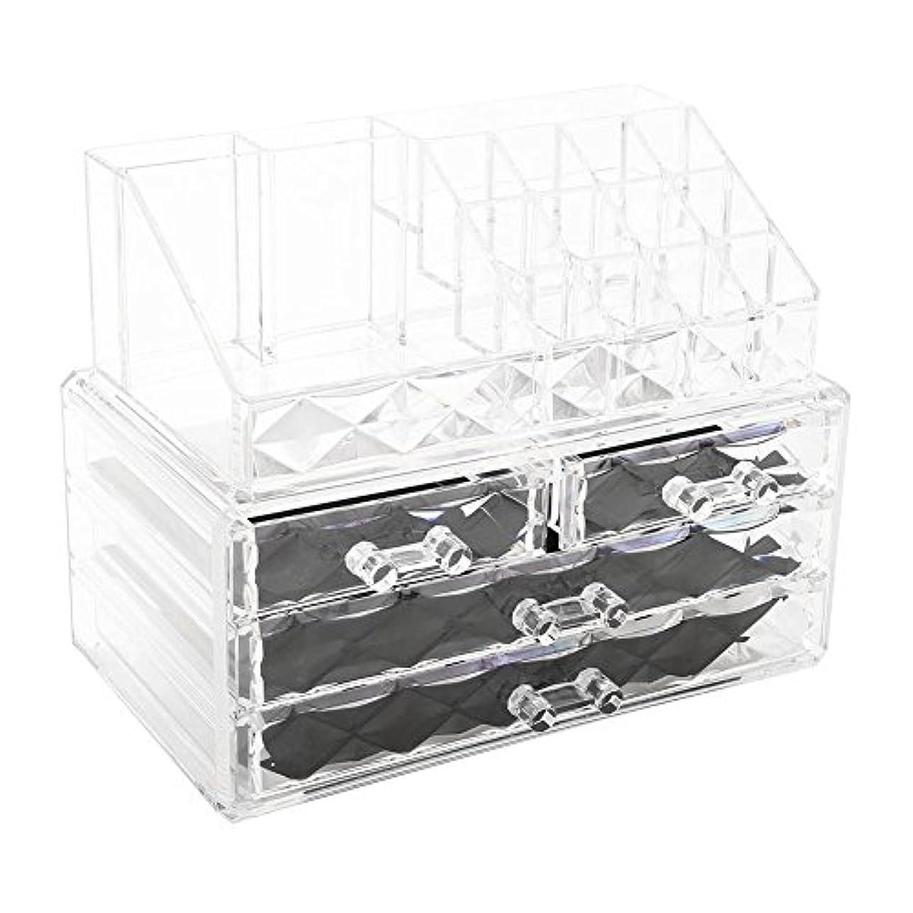 宴会アンタゴニストピカリング化粧品収納ボックス アクリル製 2段式 三つ引き出し 大容量 多機能 丈夫 耐用 防塵 高透明度 化粧道具 小物入れ 化粧品入れ コスメ収納スタンド(2色) (透明)