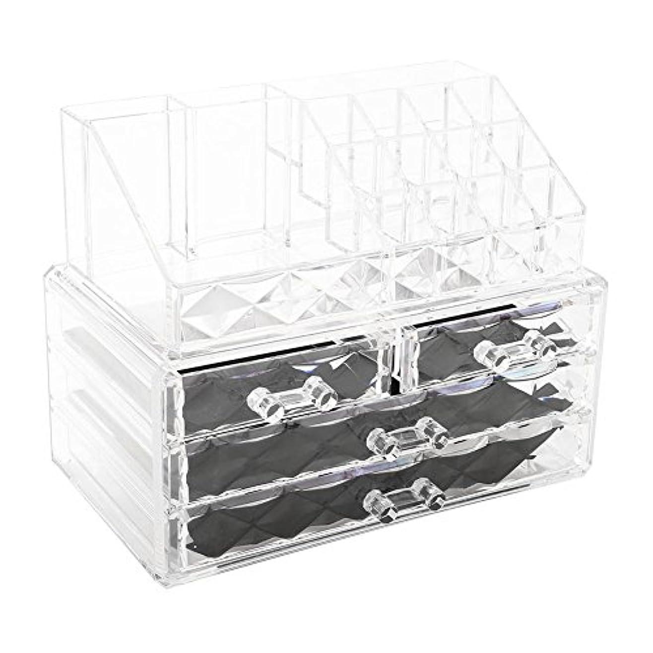 うぬぼれた農夫ストライク化粧品収納ボックス アクリル製 2段式 三つ引き出し 大容量 多機能 丈夫 耐用 防塵 高透明度 化粧道具 小物入れ 化粧品入れ コスメ収納スタンド(2色) (透明)