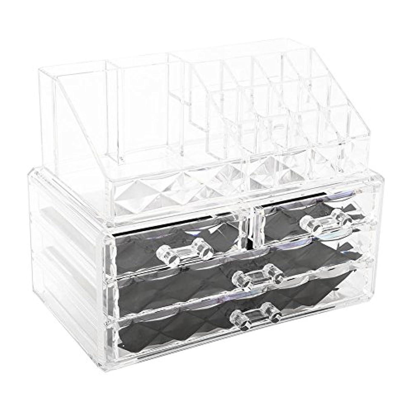 テロリストコンベンションアパル化粧品収納ボックス アクリル製 2段式 三つ引き出し 大容量 多機能 丈夫 耐用 防塵 高透明度 化粧道具 小物入れ 化粧品入れ コスメ収納スタンド(2色) (透明)
