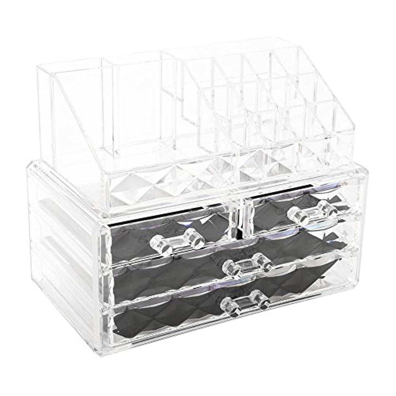 生きるクリスマス取り消す化粧品収納ボックス アクリル製 2段式 三つ引き出し 大容量 多機能 丈夫 耐用 防塵 高透明度 化粧道具 小物入れ 化粧品入れ コスメ収納スタンド(2色) (透明)
