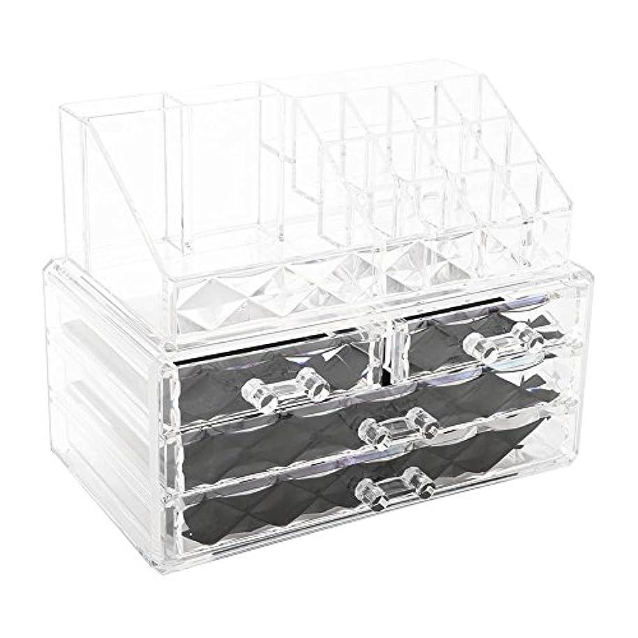 感度正気血統化粧品収納ボックス アクリル製 2段式 三つ引き出し 大容量 多機能 丈夫 耐用 防塵 高透明度 化粧道具 小物入れ 化粧品入れ コスメ収納スタンド(2色) (透明)