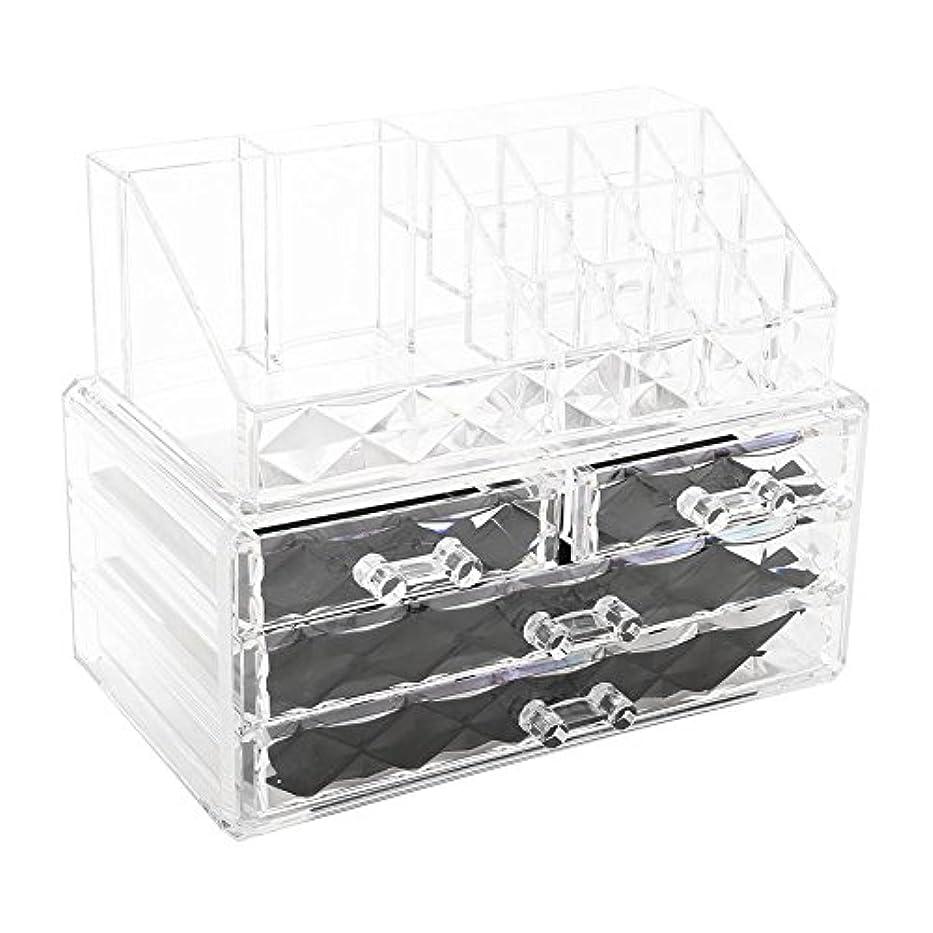 浴室注ぎますどのくらいの頻度で化粧品収納ボックス アクリル製 2段式 三つ引き出し 大容量 多機能 丈夫 耐用 防塵 高透明度 化粧道具 小物入れ 化粧品入れ コスメ収納スタンド(2色) (透明)