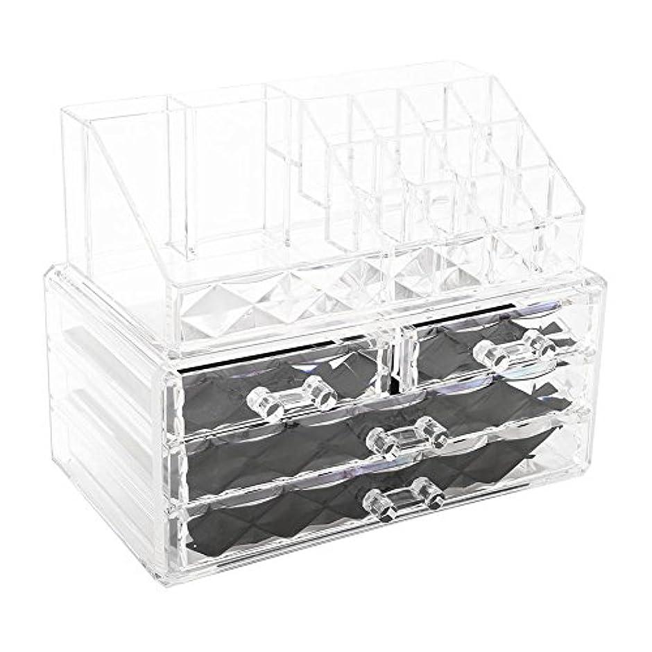 疼痛名誉不快化粧品収納ボックス アクリル製 2段式 三つ引き出し 大容量 多機能 丈夫 耐用 防塵 高透明度 化粧道具 小物入れ 化粧品入れ コスメ収納スタンド(2色) (透明)