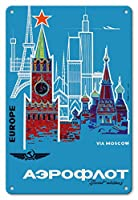 22cm x 30cmヴィンテージハワイアンティンサイン - モスクワを経由してヨーロッパ - アエロフロート・ロシア航空(ソ連航空) - ロシアの国営航空会社 - ビンテージな航空会社のポスター c.1968
