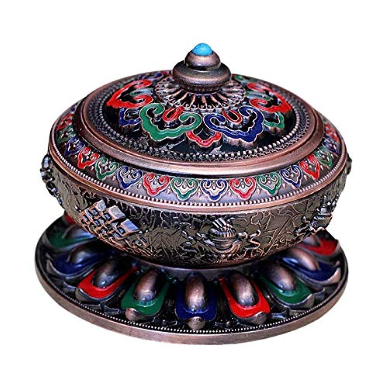 石の顕著オリエンタル香炉 アンティーク 仏教 コーン 香りバーナー 丸香炉 癒しグッズ 琺瑯工芸 全3色 - 赤