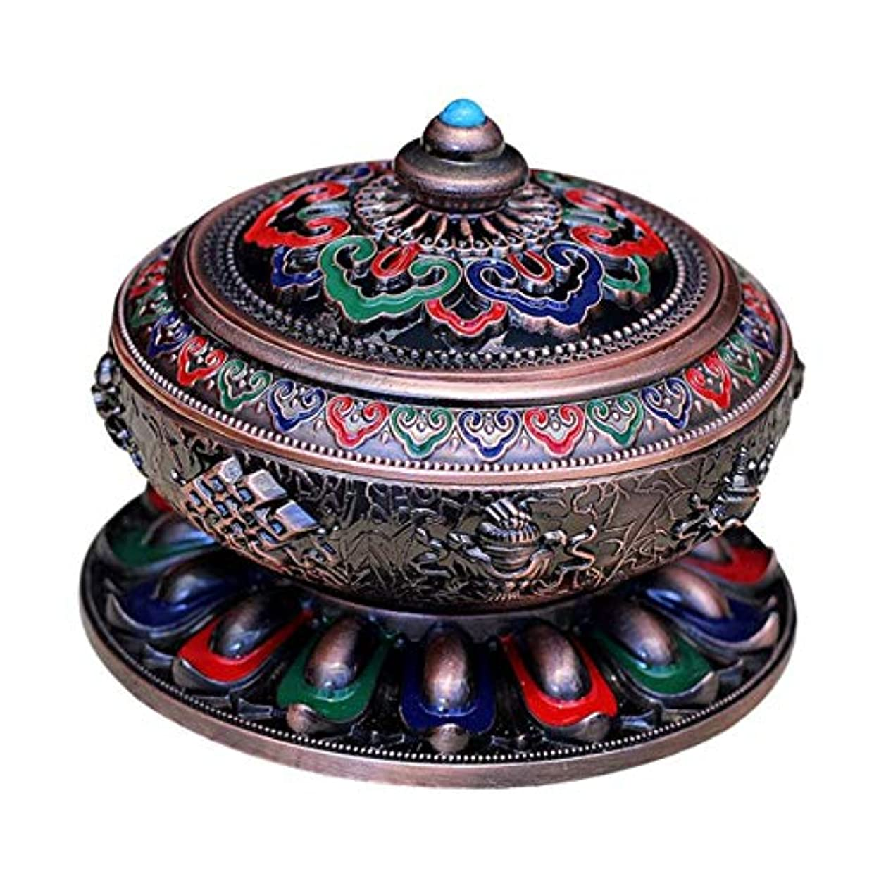 先生保持収益香炉 アンティーク 仏教 コーン 香りバーナー 丸香炉 癒しグッズ 琺瑯工芸 全3色 - 赤