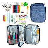 Idealeben かぎ針セット 72点 かぎ編み 道具 編み針 レース針 DIY手芸 編み物 毛糸 クラフト 色分け 小物・ケース付き コンパクト