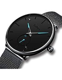 腕時計 メンズ時計ブラック ステンレススチール防水ウオッチ アナログクオーツメッシュ腕時計 シンプルデザイン ビジネス カジュアル ラグジュアリー男性腕時計