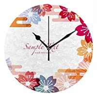 Zhigua 壁掛け時計 置き時計 かけ時計 連続秒針 静音 円形 スタンドクロック おしゃれ 電池式 枠なし シンプル デザイン 北欧 インテリア 和風 綺麗な花柄 25CM 創意