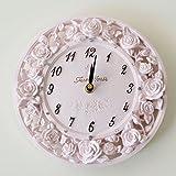 掛け時計 ローズレリーフ ピンク かわいい 姫系 ローズ 掛け時計 薔薇の掛時計
