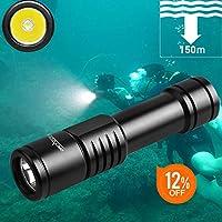 ORCATORCH D520 ダイビング用懐中電灯 IPX8完全防水 水中150Mまで使用可 Cree XM-L2(U4)LED 250m照射 超高輝度 1000LM ストラップと充電器付き スキューバダイビングライト