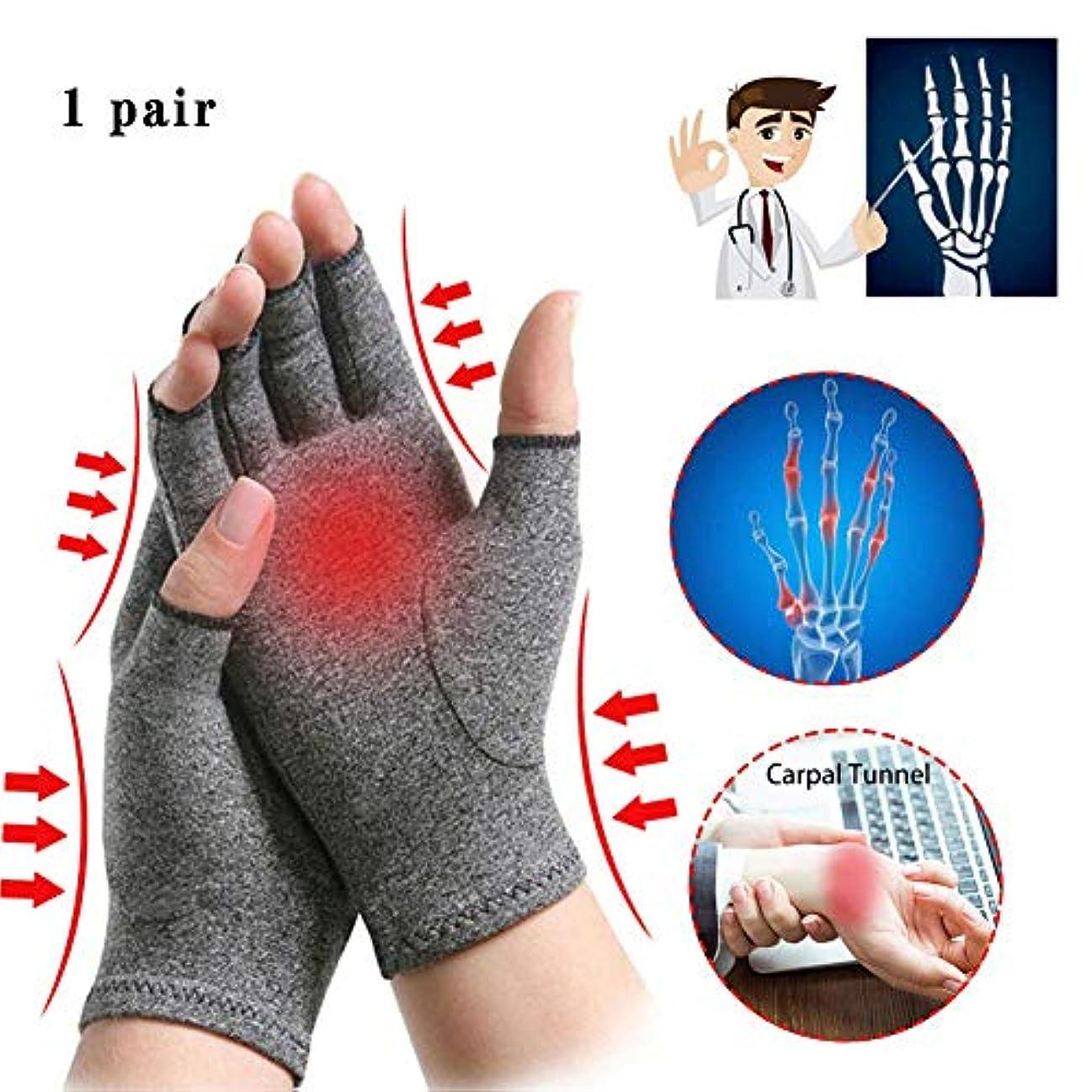 書く暴君カジュアル関節炎グローブ関節炎の痛みの圧力手袋、指の保護設計なしの指を開いてサポートと暖かい綿アンモニア素材ユニセックス1ペアを提供します