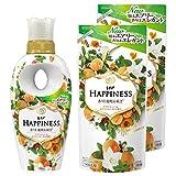 【まとめ買い】 レノアハピネス 柔軟剤 ナチュラルフレグランスシリーズ アプリコット&ホワイトフローラルの香り 本体 520mL + 詰め替え 400mL×2個