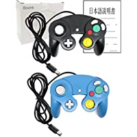 Bowink 有線 ゲームパッド コントローラ ニンテンドー Wii ゲームキューブ Gamecube Switch WiiU 専用 振動対応(黒+ブルー)