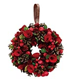 丸和貿易  クリスマス リース ベリーローズ  (L)  壁掛け  玄関飾り    4008734-02