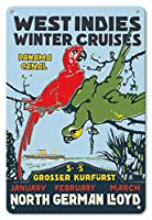 22cm x 30cmヴィンテージハワイアンティンサイン - 西インド諸島 - ウィンタークルーズ - パナマ運河 - 北ドイツロイド(NDL) - ビンテージな遠洋定期船のポスター c.1913