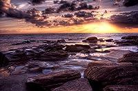 岩場のビーチの夕日 - #32250 - キャンバス印刷アートポスター 写真 部屋インテリア絵画 ポスター 75cmx50cm