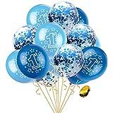 AnnoDeel ベビーバースデーバルーン 30個セット ライトブルー クリア 紙吹雪 ラテックスバルーン スパンコール ホイル素材 男の子 シャワー 誕生日 デコレーション用品