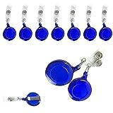 吊り下げ 名札 用 リール クリップ ID カード や 社員証 等に 選べる クリップ付きリール (青 10個) ブルー
