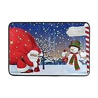 クリスマスサンタクロース赤い袋ソフト泡ドアマット子供のための滑り止め楽しいエリアラグ子供寝室プレイルーム保育園の装飾23.6 x 15.7インチ 75x45cm