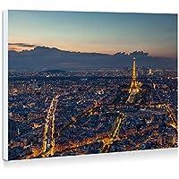 パリ、フランス、美しい夜、エッフェル塔、都市、夕方、ライト - 壁の絵 壁掛け ソファの背景絵画 壁アート写真の装飾画の壁画 - (40cmx30cm)