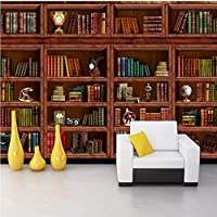 Lixiaoer カスタマイズされたヨーロッパのレトロな本棚本壁画図書館リビングルームの壁紙3Dステレオ壁画本棚本棚の壁紙-250X175Cm