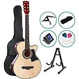 "38 Inch 41"" Acoustic Guitar Wooden Folk Classical Black Cutaway Strings Carry Bag Tuner Capo Shoulder Strap Picks ALPHA"