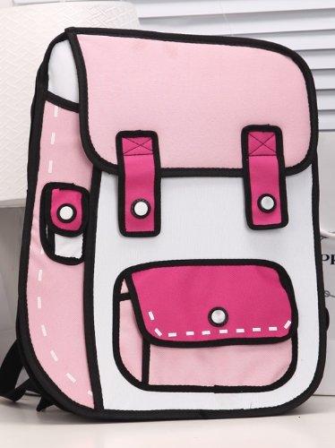 【注目度No.1!!】 二次元リュック 2Dイラストバッグ 不思議なカバン おもしろアイテム♪ (ピンク×濃ピンク)