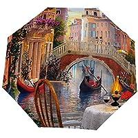 Travel Umbrella - Other Venice Al Fresca Art Landscape Artwork Wide Screen Cafe Painting Water Italy Scenery Windproof, Ergonomic Handle, Auto Open/Close Foldable Umbrella