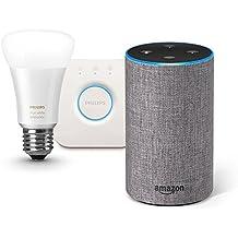 Amazon Echo (Newモデル)、ヘザーグレー (ファブリック) + Philips Hue ホワイトグラデーション シングルランプ + Philips Hue ブリッジ