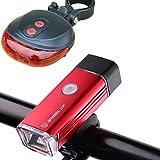 Brooke & Celine 自転車用ライト ヘッドライト 自転車LEDライト USB充電式 4つのモデル 360度回転ホルダー付属 防水 セーフディライト フラッシュモード テールライト付 2点セット