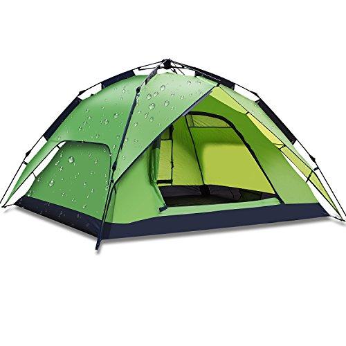 YOTECE ワンタッチテント テント 3~4人用 ワンタッチ 2WAY テント 設営簡単 防災用 キャンプ用品 撥水加工 紫外線防止 登山 折りたたみ 防水 通気性 アウトドア 3色選択可能 (グリーン)