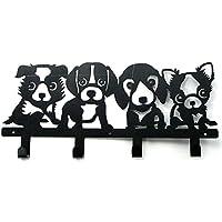 装飾ウォールフック 子犬 フィギュアハット コート キーホルダー ブラック メタル 高耐久 取り外し可能 装飾 キュート 像 犬 子犬 オーナメント
