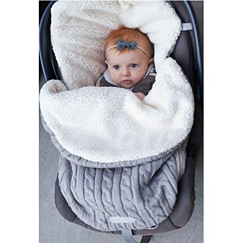oenbopo ベビーおくるみ ニットとウール製 寒さ対応 ベビーカーに ベビー寝袋 肌触りいい 出産祝い 記念撮影 ギフトにも大人気 (グレー)