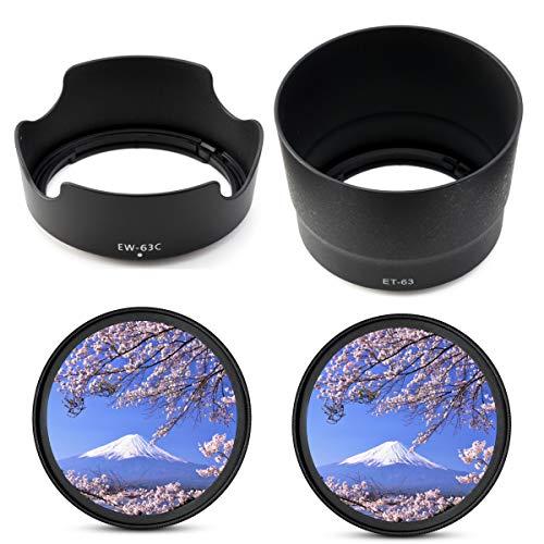 Canon EOS Kiss X10 X9i X9 X8i X7i ダブルズームレンズキット用 互換 レンズフード EW-63C ET-63 58mm フィルター 2枚 4点セット
