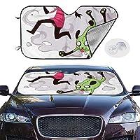 サンシェード InvaderZim インベーダー・ジム パラソル 車のフロントガラスサ るサンバイザープロテクター 紫外線をブロックす 遮光 遮熱 保護する 車 プライバシーを 簡単着脱 吸盤取付 SUV