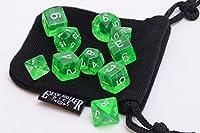 [イージーローラーダイス]Easy Roller Dice Co. 10 Piece Green Translucent Polyhedral Dice Set Includes Four Six Sided Dice and Free Small [並行輸入品]