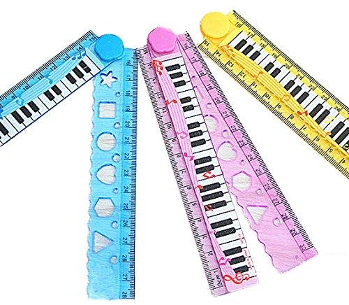 DCMA 文房具 トイ 定規 30cm 鍵盤 クラシック ピアノ 折りたたみ 1点 色お楽しみ