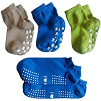 Baby Toddler Sock Non Slip Socks for Kids Boys Girls with Grips and One Adult Low Cut Socks Anti Skid (4 Pairs)