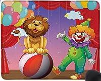 パフォーマンスマウスパッドを演奏するサーカスステージシアターカーテンでのライオンとピエロ楽しいゲーミングマウスパッド、滑り止めマウスパッド