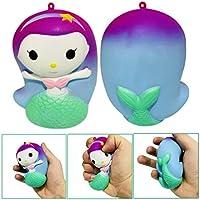 moonker Squishiesおもちゃ、指Mermaid人形Squishy Slow Risingクリーム香りつきDecompressionおもちゃ携帯電話ストラップギフト over 6 year old イエロー Moonker-MN-1137