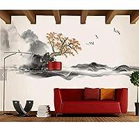 Chunxd 中国インク風景画壁紙壁紙、リビングルームテレビソファ壁寝室研究レストランカスタム壁壁画-200X140Cm