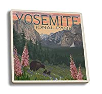 Bears and Spring Flowers–ヨセミテ国立公園、カリフォルニア 4 Coaster Set LANT-44578-CT