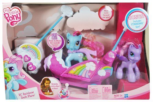 Hasbro My Little Pony Remote Control Vehicle Set - RC Rainbow Dash Plane with 1 Plane, 1 Remote with 3 Functions (Forward, Turn and Sound) and Rainbow Dash Pony Figure with Scarf Plus Bonus Starsong P