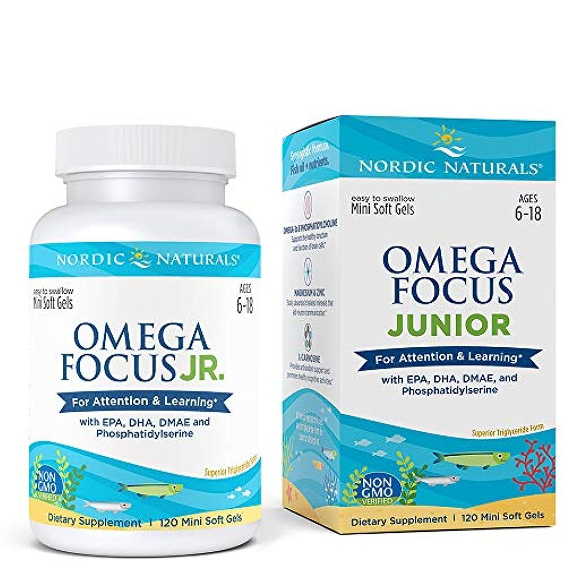 プレフィックス人ペインNordic Naturals Omega Focus Junior オメガ フォーカス ジュニア ソフトカプセル 120錠 [海外直送品]