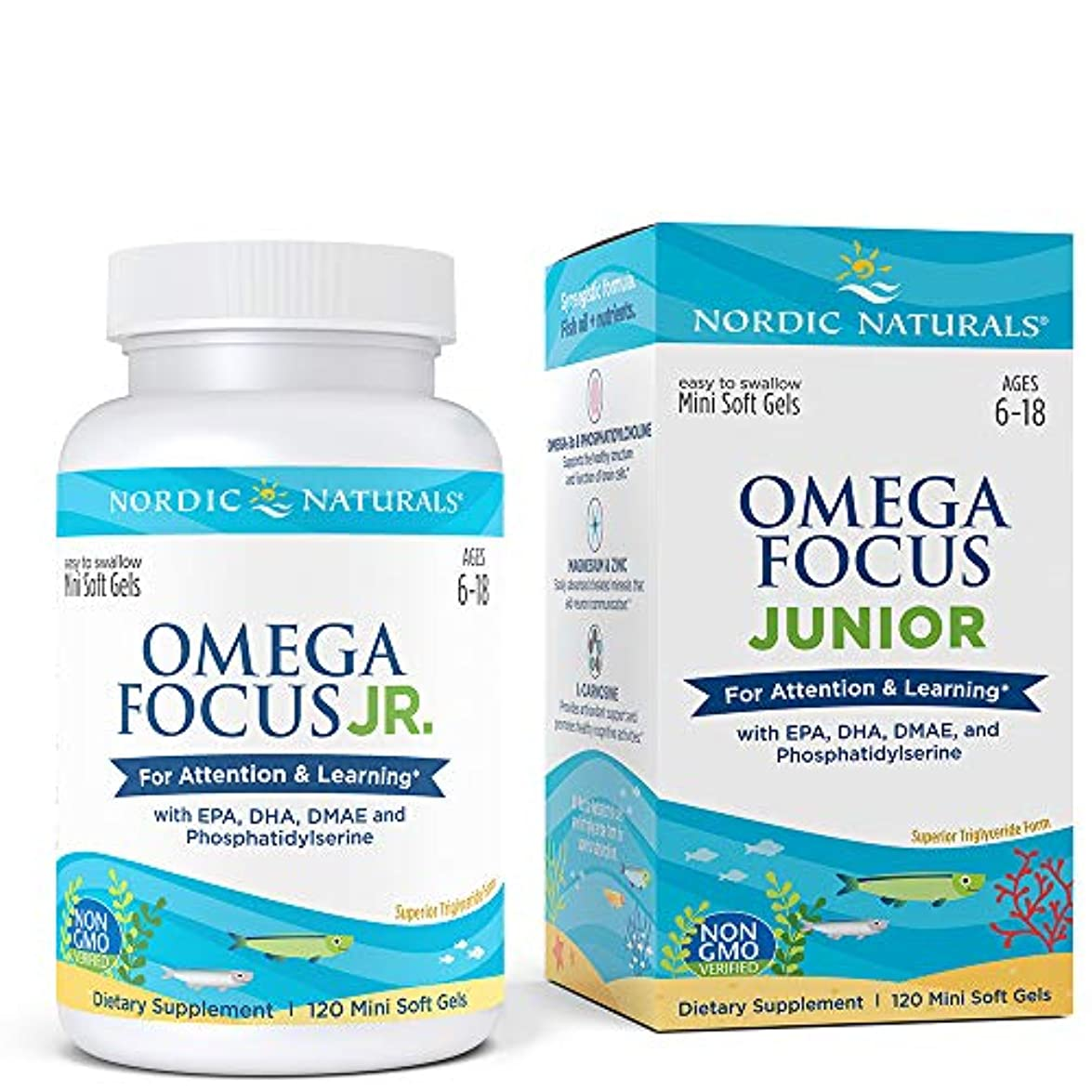 パスポート言うマザーランドNordic Naturals Omega Focus Junior オメガ フォーカス ジュニア ソフトカプセル 120錠 [海外直送品]