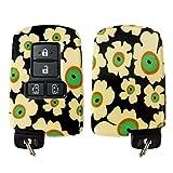 キーケース 花柄 シエンタ 170系 トヨタ カバー 専用設計 スマートキーケース スマピタ ハードケース 花柄1 ブラック×イエロー