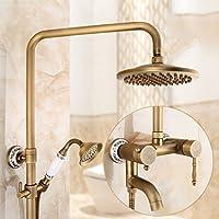 シャワーセットアンティーク銅レトロバスルームシャワーセットシャワーヨーロッパのハンドシャワー蛇口ホットシャワーシャワーバスルーム、ブロンズ