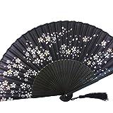 [モノジー] MONOZY シルク 扇子 黒 桜 花柄 扇子袋 セット (満開桜)